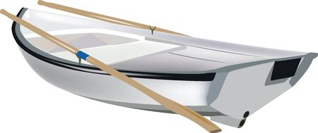 rowing boat: small white boat rowing Illustration