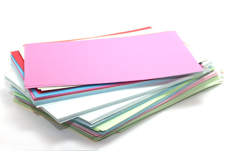 paper sheets: rectangular sheets of colored paper