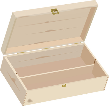empty box: wooden box for wine gift Illustration