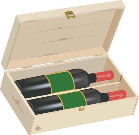 humidity: wooden box for wine gift Illustration