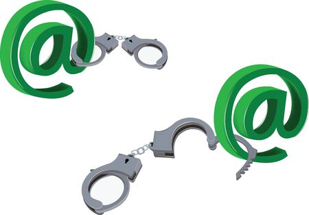 cuff link: symbol handcuffs and open internet