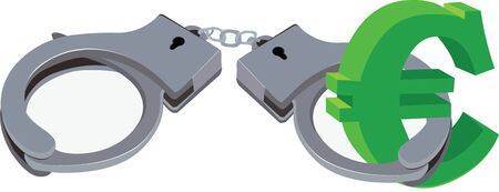handcuffs of the type block American currency symbol