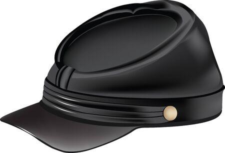 sombrero con visera período de secesión militar Ilustración de vector