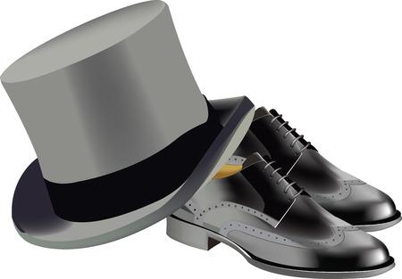 cylindrical: stylish shoes with cylindrical hat Illustration