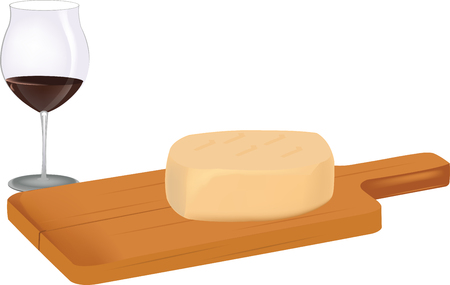 alcoholic beverage: cutting board with cheese and alcoholic beverage
