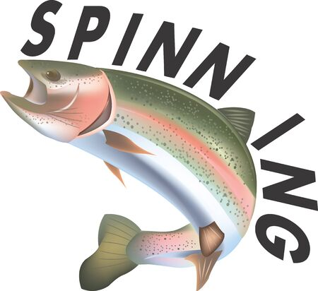 rainbow trout: adhesive trout with written spinnin Illustration