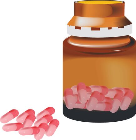 sterilized: pink capsule pills with glass container open