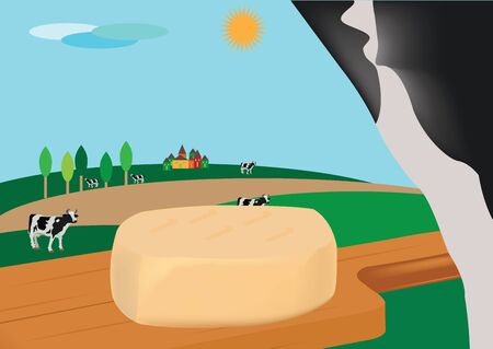 pastures: caciotta cheese on cutting board