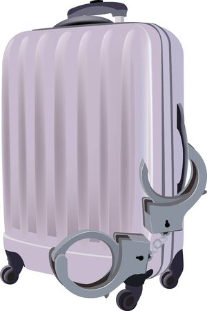 burglar alarm: suitcase for vacation with handcuff