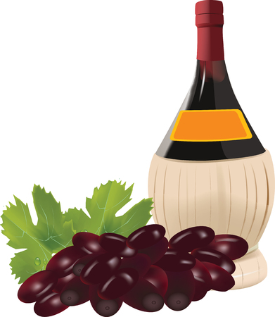 alcoholic drink: bottle of straw wine with grapes alcoholic drink wine