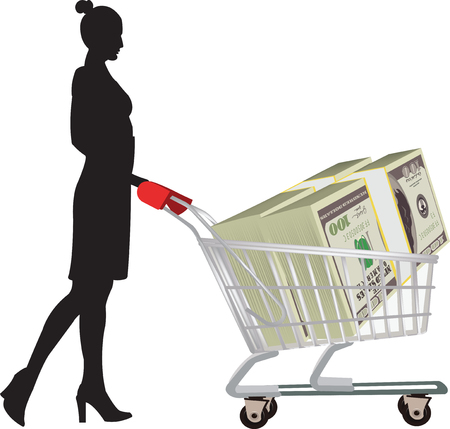 affair: Figure with cart and dollar currenc