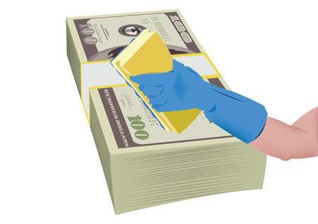 wad: human hand cleans wad of dollars