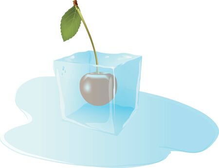 ice: cherry fruit frozen in ice cube Illustration