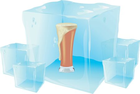 alcoholic drink: alcoholic drink iced beer inside the ice cube Illustration
