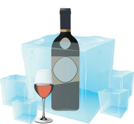 cooled: cold wine Illustration
