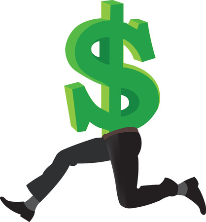 refuge: American currency dollar symbol with legs Illustration