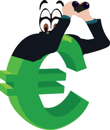 euro currency symbol with telescope looks away Illustration