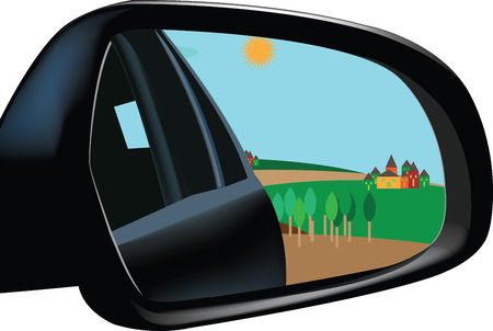 rearview: accessory car rearview mirror with image landscape
