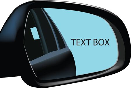 reflects: rear-view mirror of a car That Reflects advertising