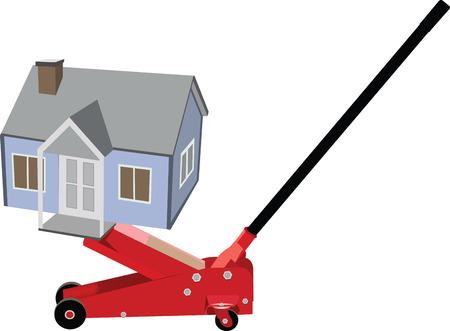 house exchange: weight dwelling hydraulic jack Illustration