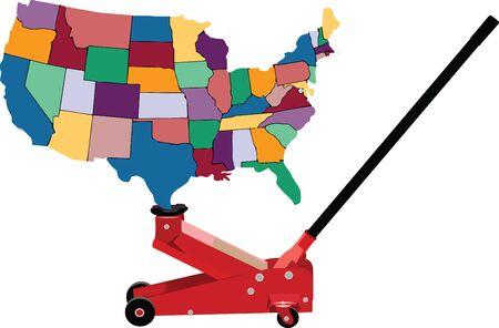 hydraulic: hydraulic jack lifts America United States Of America Illustration