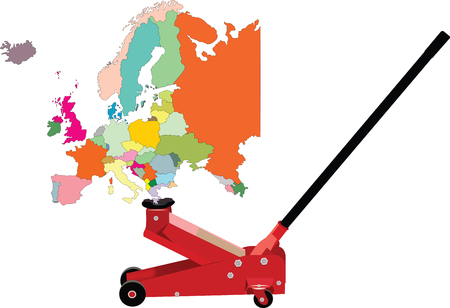 europe: hydraulic jack lifts Europe Illustration