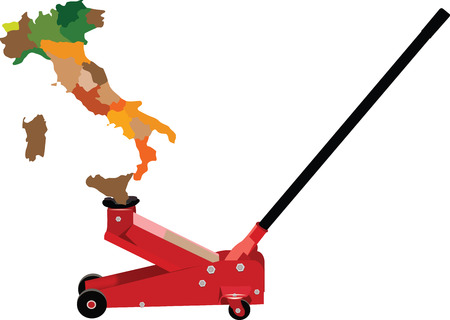 strong strategy: hydraulic jack lifts Italy Illustration