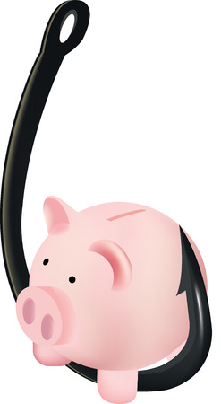 fish hook: fish hook with piggy bank