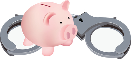 lock block: piggy bank in piglet form with handcuffs Illustration
