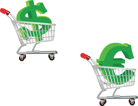 spending: shopping euro dollar spending Illustration