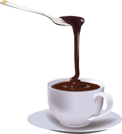 dark chocolate: dark chocolate in the cup Illustration