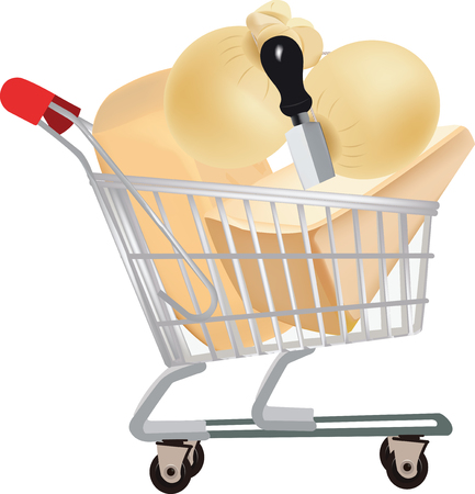 cart: shopping cart full of cheese Illustration