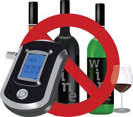 measuring the blood alcohol Breatha  イラスト・ベクター素材