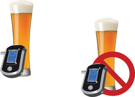 alcohol concentration rate with a glass of beer Illustration