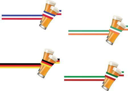 Tape glasses of clear beer of various nationalities Illustration