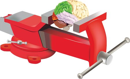 Table vise with brain Illustration
