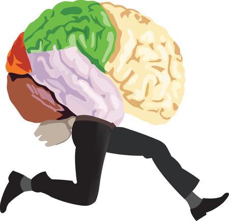 cerveau organe humain avec fuit les jambes en cours d'exécution