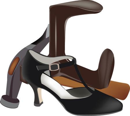 craftsmen repair: Elegant female shoe repair tools shoemaker Illustration
