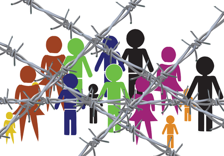 Barbed wire with blocked persons