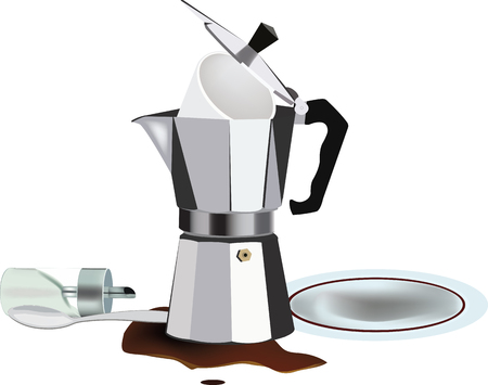disorder: empty coffee pot with disorder and inverted sugar