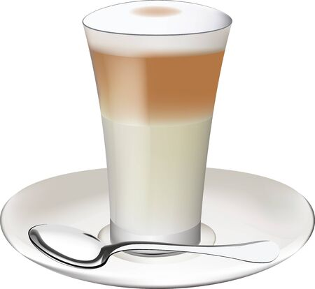 cup of coffee with hot milk foam Illustration
