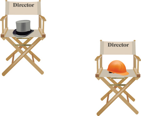 articles of furniture: canvas chair with hat and written director