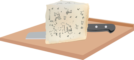 unpleasant: soft gorgonzola cheese with mold on board Illustration