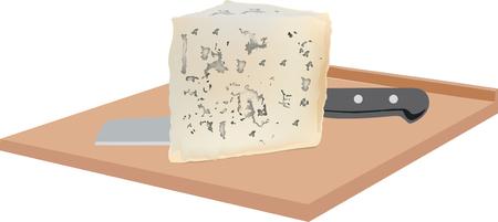 gorgonzola: soft gorgonzola cheese with mold on board Illustration