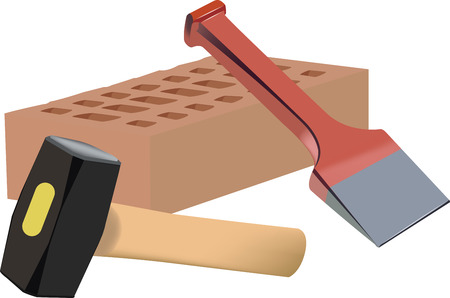 hammer mallet with terracotta brick and red chisel