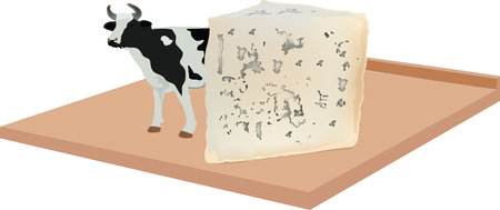 soft gorgonzola cheese with mold on board Illustration
