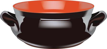 dark-colored terra cotta casserole old model
