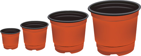 flowerpots: Plastic flowerpots isolated on a white background.