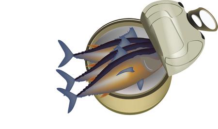poissons de thon en conserve sur fond blanc