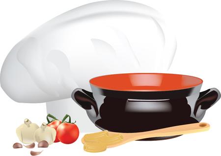 ingredients and utensils kitchen chefs hat and tomato puree Çizim